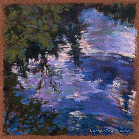 River reflection pastel drawing