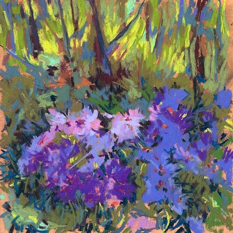 Pastel, purple flowers in green woods