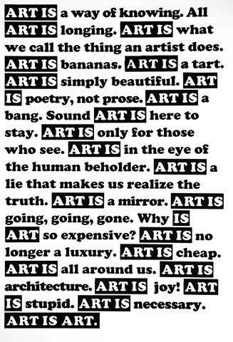 ART IS BANANAS. ART IS ARCHITECTURE. ART IS STUPID. ART IS NECESSARY.