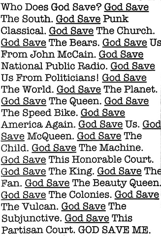TEXT ART. GOD SAVE THE SOUTH. GOD SAVE PUNK CLASSICAL. GOD SAVE MCQUEEN.