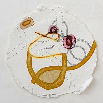 Remains (series) Print bricolage on handmade paper with inlay thread, graphite drawing