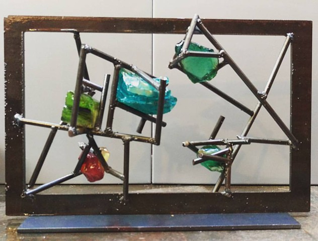 Glass slag and metal sculpture study for gate sets