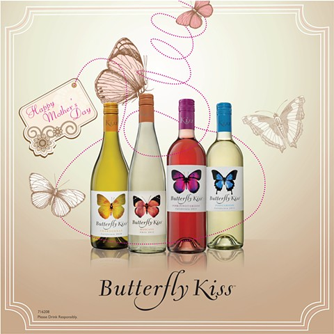 Butterfly Kiss Wine Poster