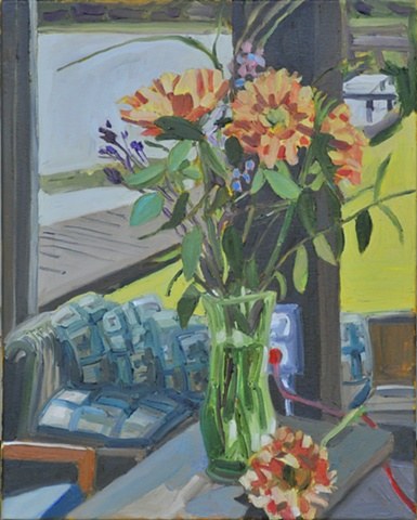 Still Life with Flowers in Boat House on Melrose Bay