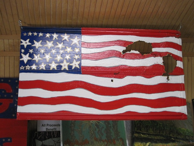 American Flag on Tin - two sides -