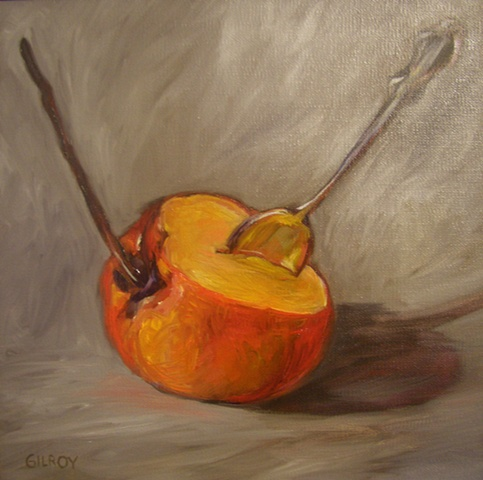 Persimmon and spoon