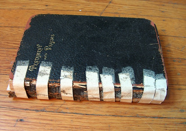 Early 20thc Testaments and Psalms, rebacked after original medical tape repair by the owner (a physician).