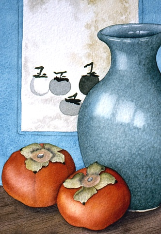 Persimmons with Blue Vase