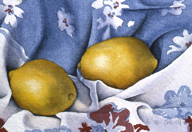 Lemons on Blue Tablecloth