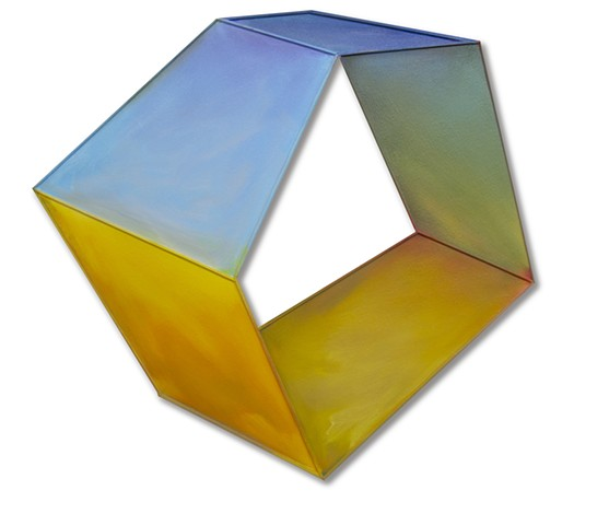 Yvette Cohen lives and works in the Chelsea neighborhood of New York, NY. She creates flat boldly colored shaped painting sculptures, paintings that look like sculptures, positioned to convey infinite air and unlimited possibilities. Geometric, dimension,