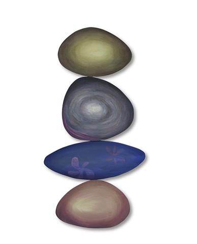 Rocks juggling beach shape color balance sculpture painting flat space