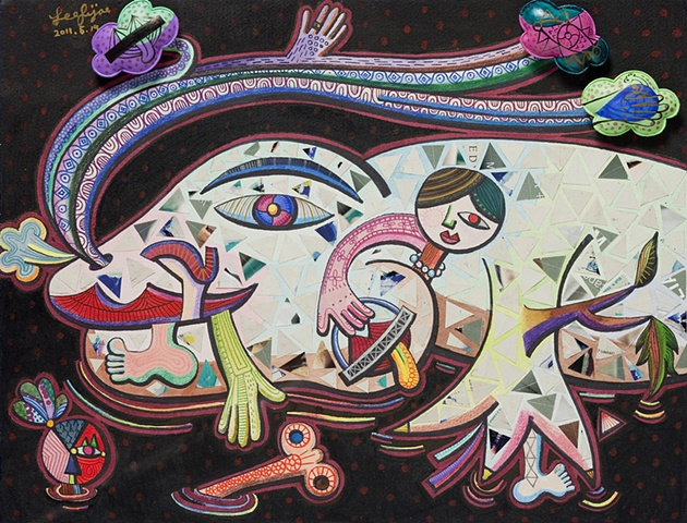 The Man-Eating Catfish of the Sky Shantytown, Watercolor on Paper, 58 X 48cm, 2011