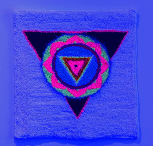 black light glow installation queer contemporary art inner space weaving kali yantra