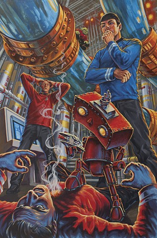 Bad Robot On Board acrylic painting illustration by Stephen Andrade Gallery1988 Star Trek J.J. Abrams2013