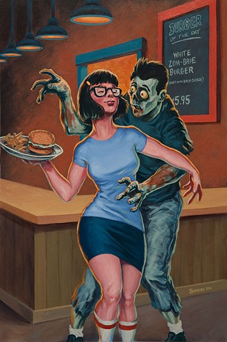 erotic zombie friend fiction painting by Stephen Andrade 2016 Bob's Burgers Tina Belcher Chad the Zombie Gallery1988 G1988