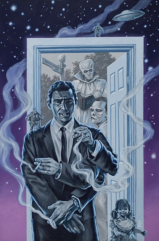 Tales From The Twilight Zone painting by Stephen Andrade 2016 Rod Serling Gallery1988 G1988 Idiot Box