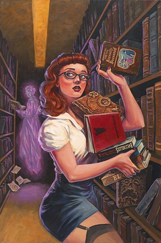 Spooky Stories by Stephen Andrade Gallery1988 g1988 Crazy 4 Cult Crazy4Cult 2015 librarian pinup Ghostbusters Evil Dead Hocus Pocus Ninth Gate Babadook In the Mouth of Madness