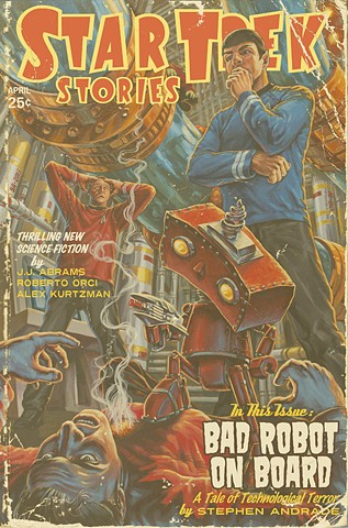 Bad Robot On Board Vintage Pulp Edition print acrylic painting illustration by Stephen Andrade Gallery1988 2013 Star Trek J.J. Abrams