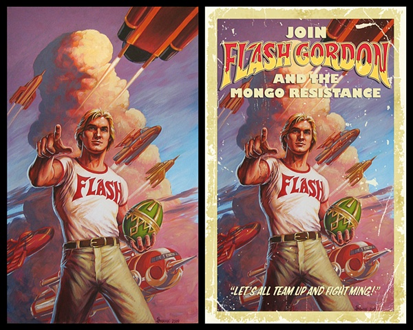 """Savior Of The Universe"" Flash Gordon movie propaganda poster painting by Stephen Andrade"