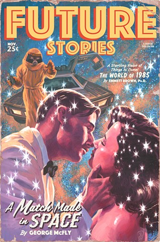 A Match Made in Space by Stephen Andrade print art Back to the Future vintage pulp magazine designercon 2020