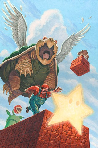 Catch A Falling Star by Stephen Andrade painting Super Mario Brothers art Bottleneck Gallery 2018