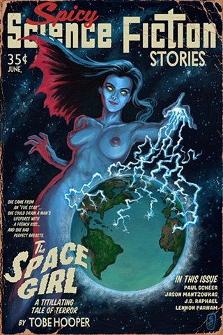 The Space Girl Vintage Pulp Edition print by Stephen Andrade Gallery1988 g1988 How Did This Get Made podcast Lifeforce Tobe Hooper