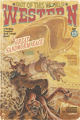 The Great Sandworm Race painting by Stephen Andrade Gallery1988 Crazy 4 Cult 7 New York NYC Tremors Dune Beetlejuice Kevin Bacon vintage pulp edition