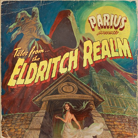Tales From The Eldritch Realm Parius album cover metal vintage horror poster 2018