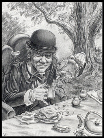 "Drawing of Mad Hatter from ""Alice in Wonderland"" series by Stephen Andrade"
