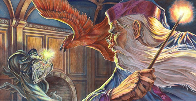 "Dumbledore and Voldemort dueling from ""Harry Potter"" series of paintings by Stephen Andrade"