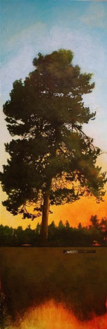 painting of a tree at sunset