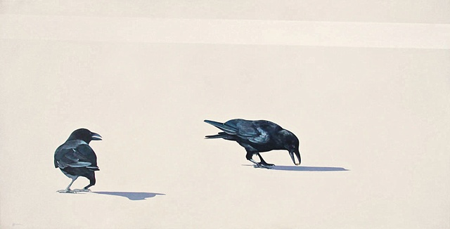 painting of a crow on pavement