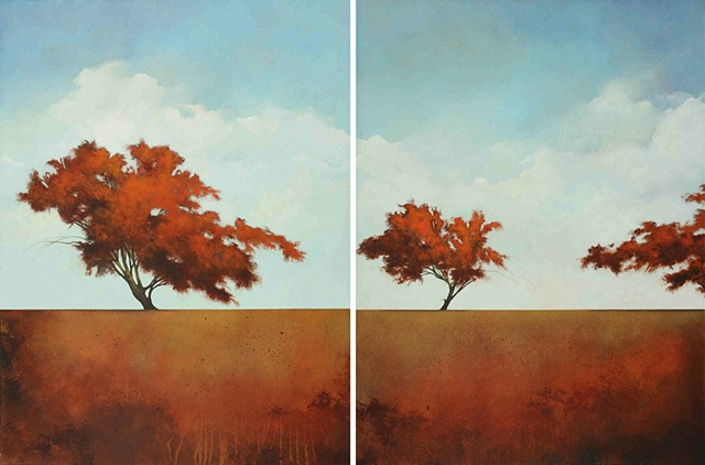contemporary painting with tree