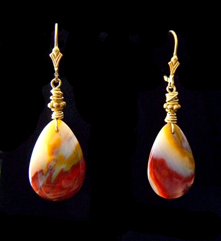 14K Gold-filled Jasper Earrings Front