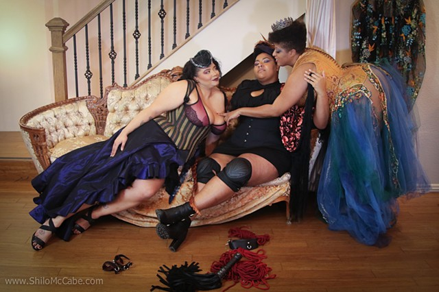 Promotional photo shoot for IMsLBB at Dark Garden Corsetry.
