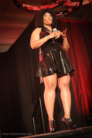 Contestant Pop Question at International Ms. Leather/International Ms. Bootblack Contest 2017.