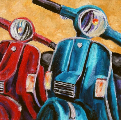 Red and Blue Scooters