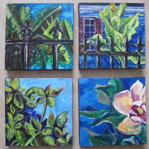 4 small New Orleans-inspired canvases