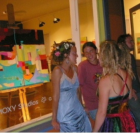 Bowley exhibit - hanging out front of the gallery - best place to be at the end of the night