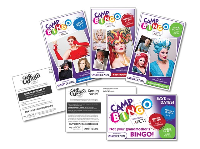 AIDS Resource Center of Wisconsin  Camp Bingo Recruitment Oversized Postcard Marketing  December 2018