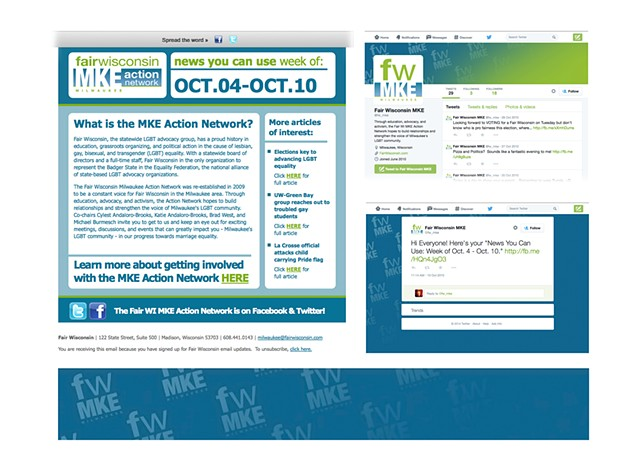 Fair Wisconsin  Milwaukee (MKE) Action Network  Email Blast Template Design, Social Media Branding - Twitter 2010 Graphics - 2014 Layout (Shown)  October 2010