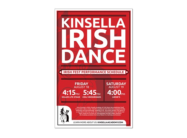 Kinsella Irish Dance Academy  2017 Irish Fest Performance Schedule Poster  August 2017