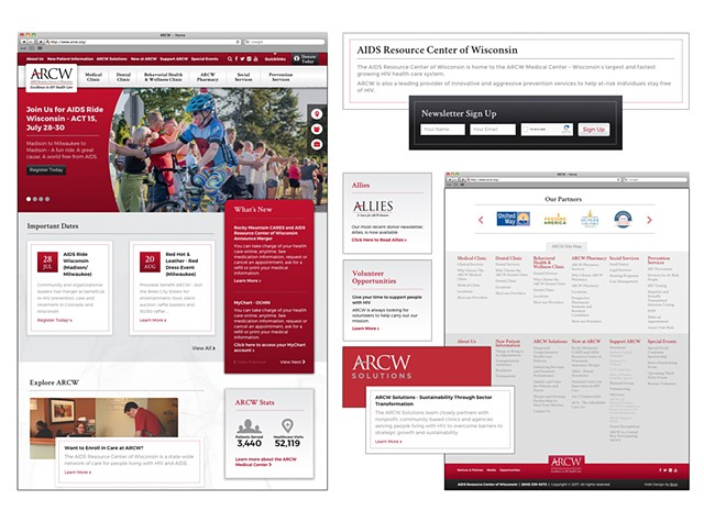 AIDS Resource Center of Wisconsin  2017 Website Concept  (Collaboration with Jen Fox - ByteStudios)  July 2017