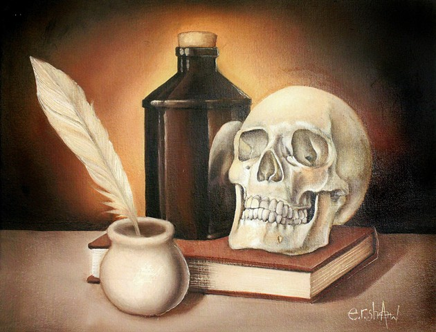 Still Life with Skull and Bottle