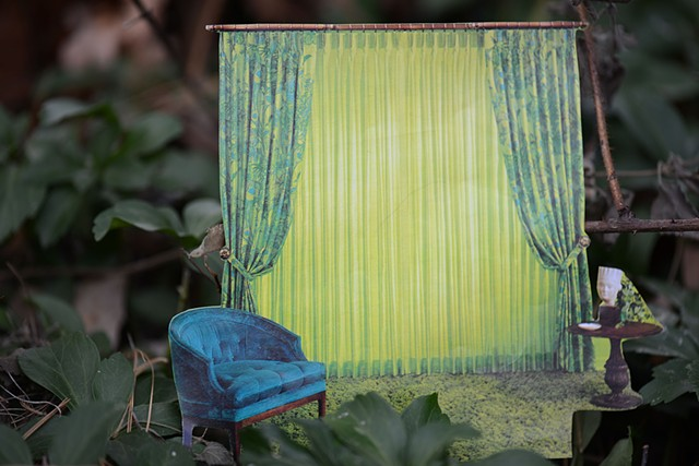 photograph of photography collage miniature still life nature domestic home curtains vintage