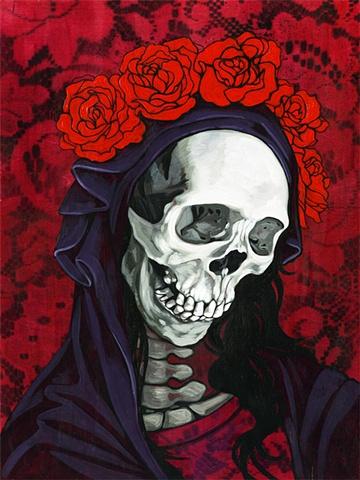 santa muerte in red