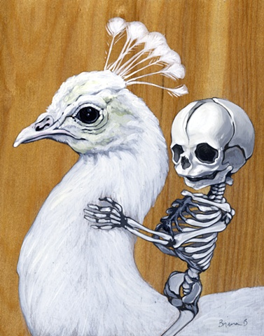 baby skeleton riding white peacock