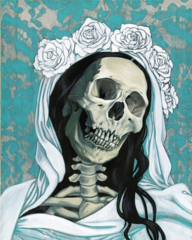 Santa Muerte in white and turquoise