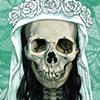 Mini Santa Muerte in white on turquoise