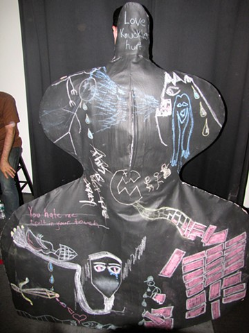 Back of Chalkboard Cloak for Nicholas Gorham performing at Joes Pub